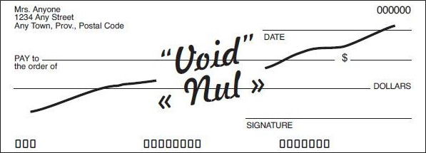 Example of a void cheque