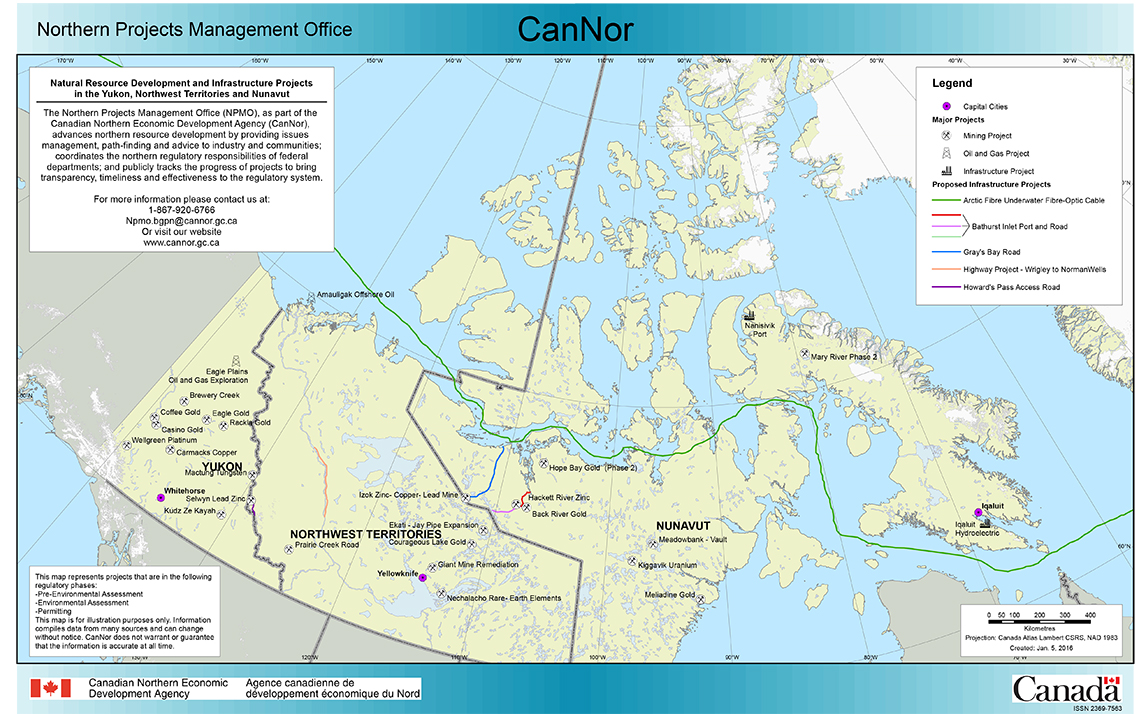 Map Of Canada Nunavut.Map Natural Resource Development And Infrastructure Projects In The